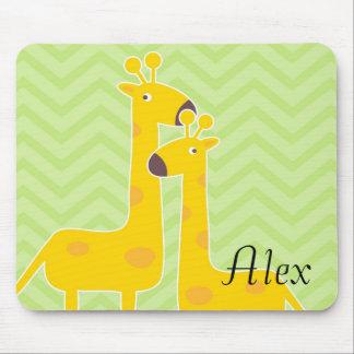 Giraffe on zigzag chevron pattern. mouse pad