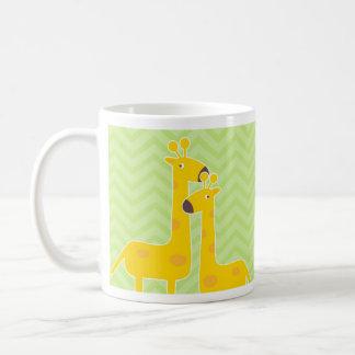 Giraffe on zigzag chevron pattern. mugs