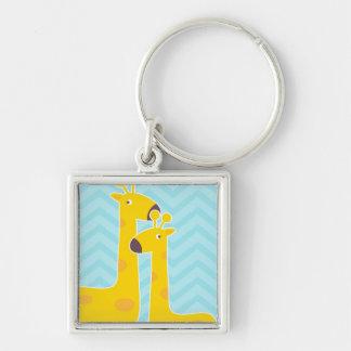 Giraffe on zigzag chevron pattern - Pastel Blue Keychains