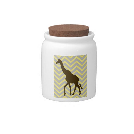 Giraffe on Zigzag Chevron - Yellow and Grey Candy Dishes