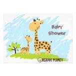 Giraffe Organic Planet Baby Shower Invitaitions Personalised Announcement