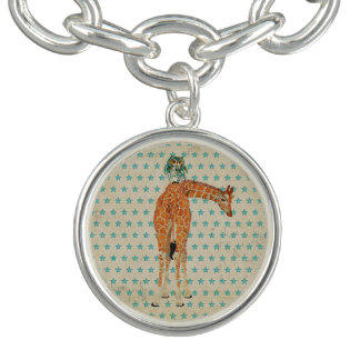 Giraffe & Owl  Blue Stars Charm Bracelet