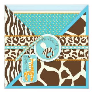 Giraffe & Pacifier Safari Animal Print Baby Shower 13 Cm X 13 Cm Square Invitation Card