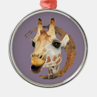 Giraffe Painting with Faux Gold Circle Frame Christmas Ornament