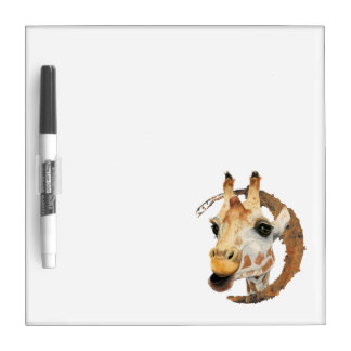 Giraffe Painting with Faux Gold Circle Frame Dry Erase Board
