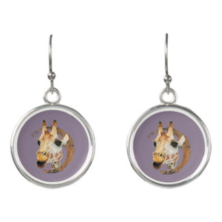 Giraffe Painting with Faux Gold Circle Frame Earrings