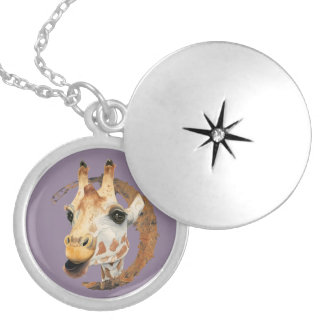 Giraffe Painting with Faux Gold Circle Frame Locket Necklace