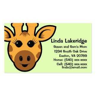 Giraffe Parent Contact  Info Card Pack Of Standard Business Cards