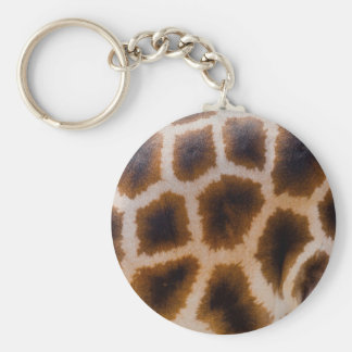 Giraffe Patches Spotted Skin Texture Template Basic Round Button Key Ring