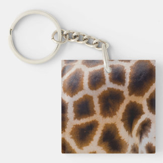 Giraffe Patches Spotted Skin Texture Template Double-Sided Square Acrylic Key Ring