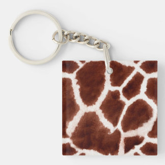Giraffe Pattern Animal Print Double-Sided Square Acrylic Key Ring