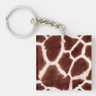 Giraffe Pattern Animal Print Double-Sided Square Acrylic Key Ring