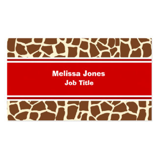 Giraffe pattern animal print pack of standard business cards