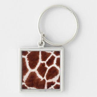 Giraffe Pattern Animal Print Silver-Colored Square Key Ring