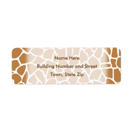 Giraffe Pattern Brown Animal Print Design. Return Address Label