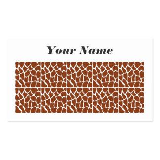 Giraffe Pattern. Brown. Business Card Templates