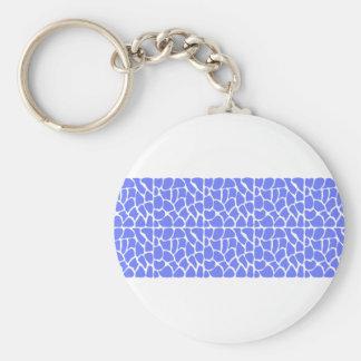 Giraffe Pattern. Cornflower Blue. Basic Round Button Key Ring