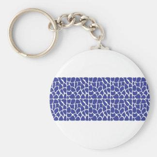Giraffe Pattern. Dark Blue. Basic Round Button Key Ring