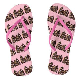 Giraffe Pattern Logo With Giraffes, Pink Flip Flops