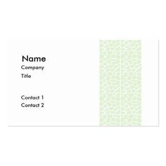 Giraffe Pattern. Mint Green. Business Cards