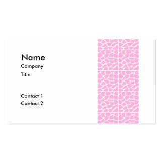 Giraffe Pattern. Pale Pink. Double-Sided Standard Business Cards (Pack Of 100)