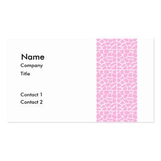 Giraffe Pattern. Pale Pink. Pack Of Standard Business Cards