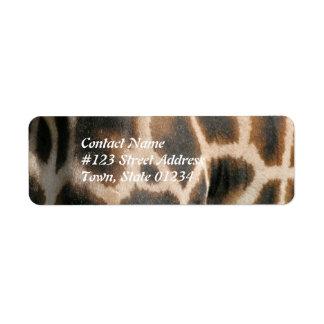 Giraffe Pattern Print Mailing Label