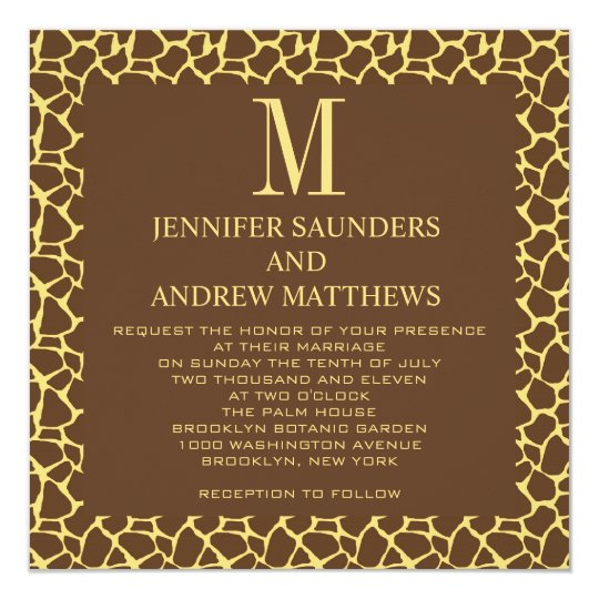 Giraffe Pattern Wedding Invitation with Monogram