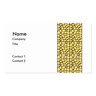 Giraffe Pattern. Yellow & Black. Pack Of Standard Business Cards