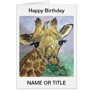 Giraffe personalised art birthday card friend etc.