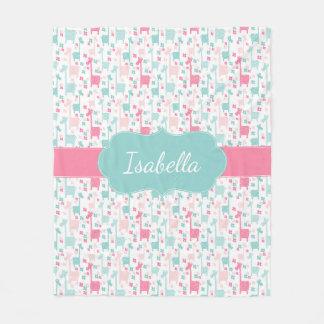 Giraffe Pink Mint Aqua Teal Fleece Blanket