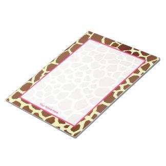 Giraffe & Pink Personalised Notepad