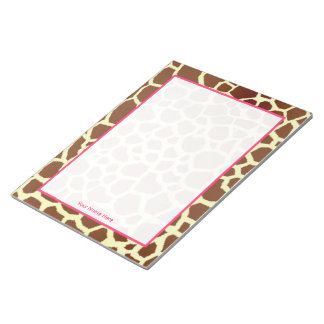 Giraffe & Pink Personalized Notepad