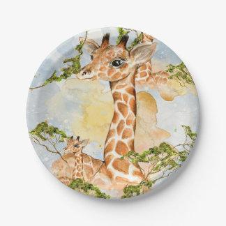Giraffe Portrait Animal Picture Paper Plate