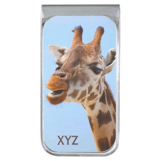 Giraffe Portrait custom monogram money clip Silver Finish Money Clip