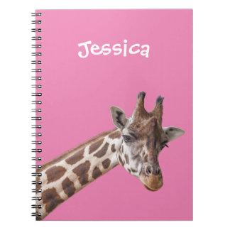 Giraffe Portrait on Pink Girly Name Notebook