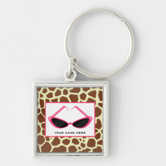 Giraffe Print And Retro Pink Sunglasses Silver-Colored Square Key Ring