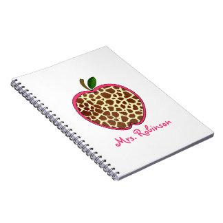 Giraffe Print Apple Spiral Notebook For Teachers