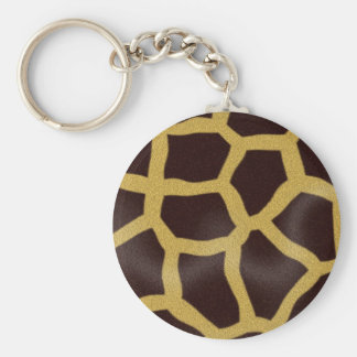 Giraffe Print Basic Round Button Key Ring