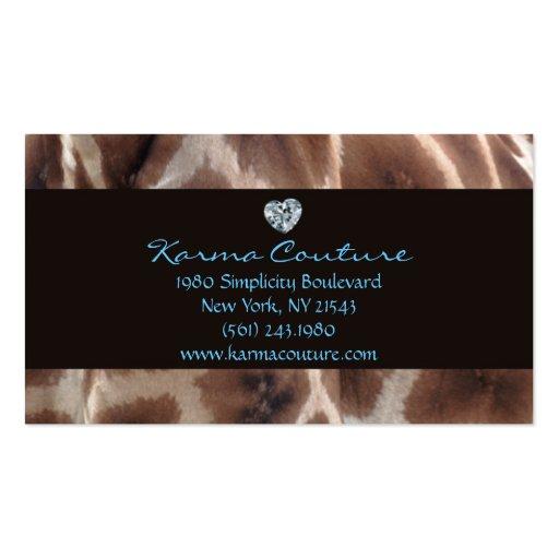 Giraffe print black w heart shaped diamond business cards for Heart shaped business cards