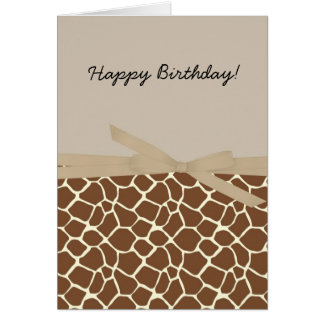 Giraffe Print Bow Greeting Cards