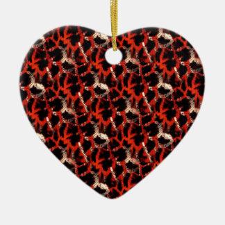 Giraffe Print Ceramic Heart Decoration