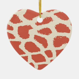 Giraffe Print Ceramic Heart Decoration