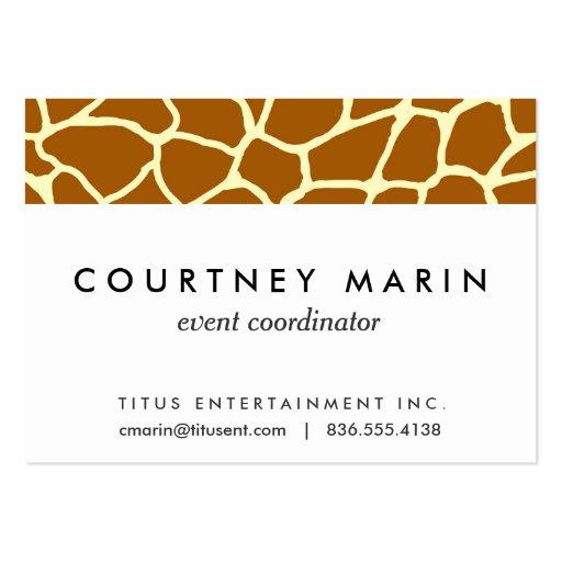 Giraffe Print Classic Brown Yellow Animal Pattern Business Card Templates