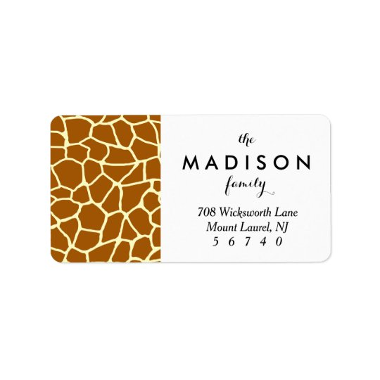 Giraffe Print Classic Brown Yellow Animal Pattern Label