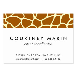 Giraffe Print Classic Brown Yellow Animal Pattern Pack Of Chubby Business Cards