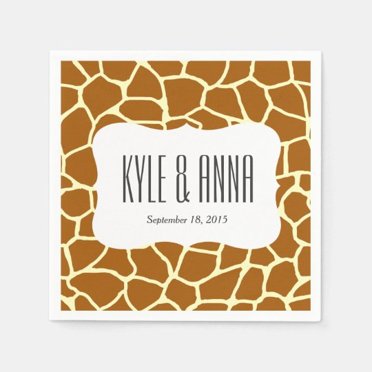 Giraffe Print Classic Brown Yellow Animal Pattern Paper