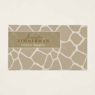 Giraffe Print Designer Business Card :: Beige