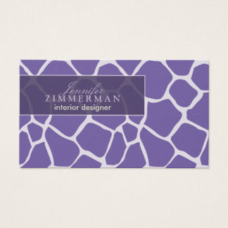 Giraffe Print Designer Business Card :: Purple