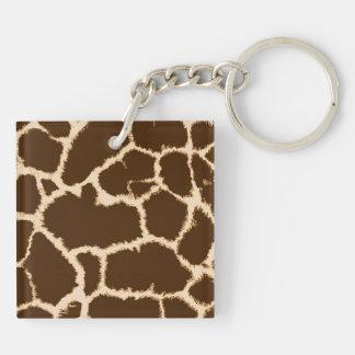Giraffe Print Double-Sided Square Acrylic Key Ring